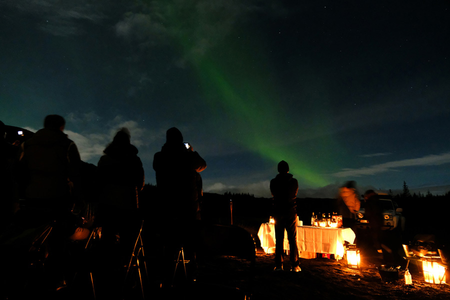 Chasing Northern Lights Iceland, Corporate Expedition - Green lights in the night