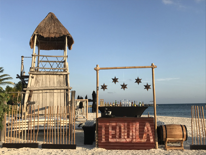 Corporate Events and Meetings - Tequila bar at the beach