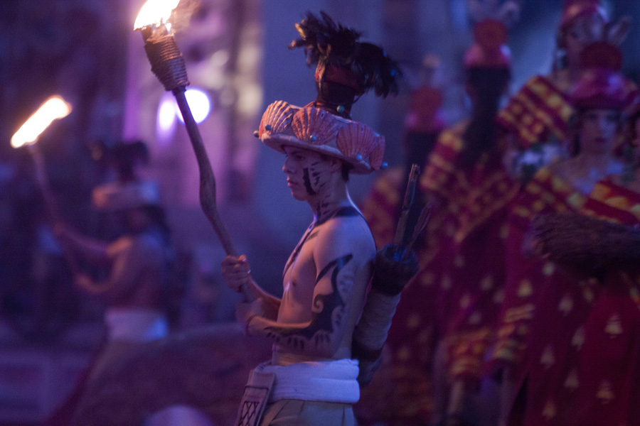 Culture and Wildlife in the Mayan Riviera - Mayan warrior and fire at night