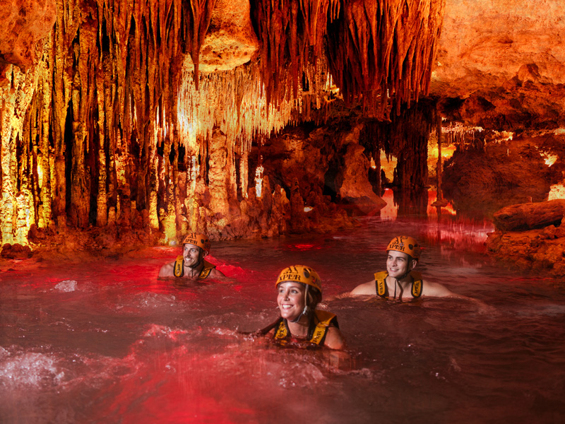 Culture and Wildlife in the Mayan Riviera exploring and having fun inside a cave cenote