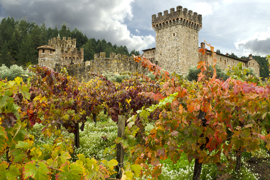 Food and Wine in Napa Valley - Castle and fortress close to a wineyard