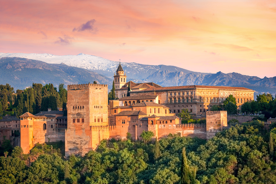 Panoramic view of Alhambra in Granada, Spain
