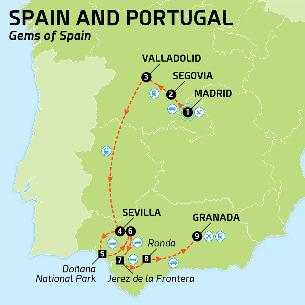 Map of Spain and Portugal - Gems of Spain