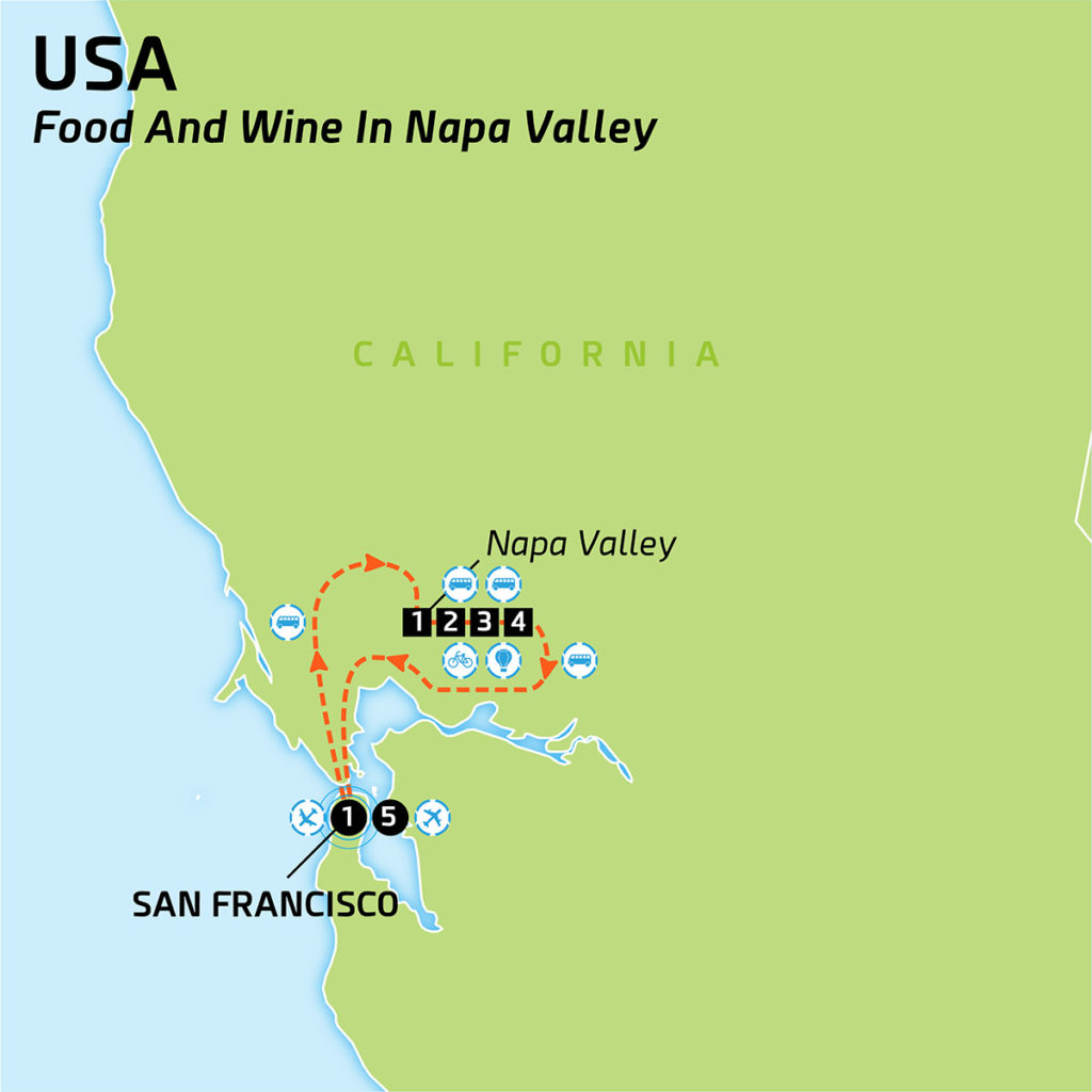 Map of USA - Food and wine in Napa Valley