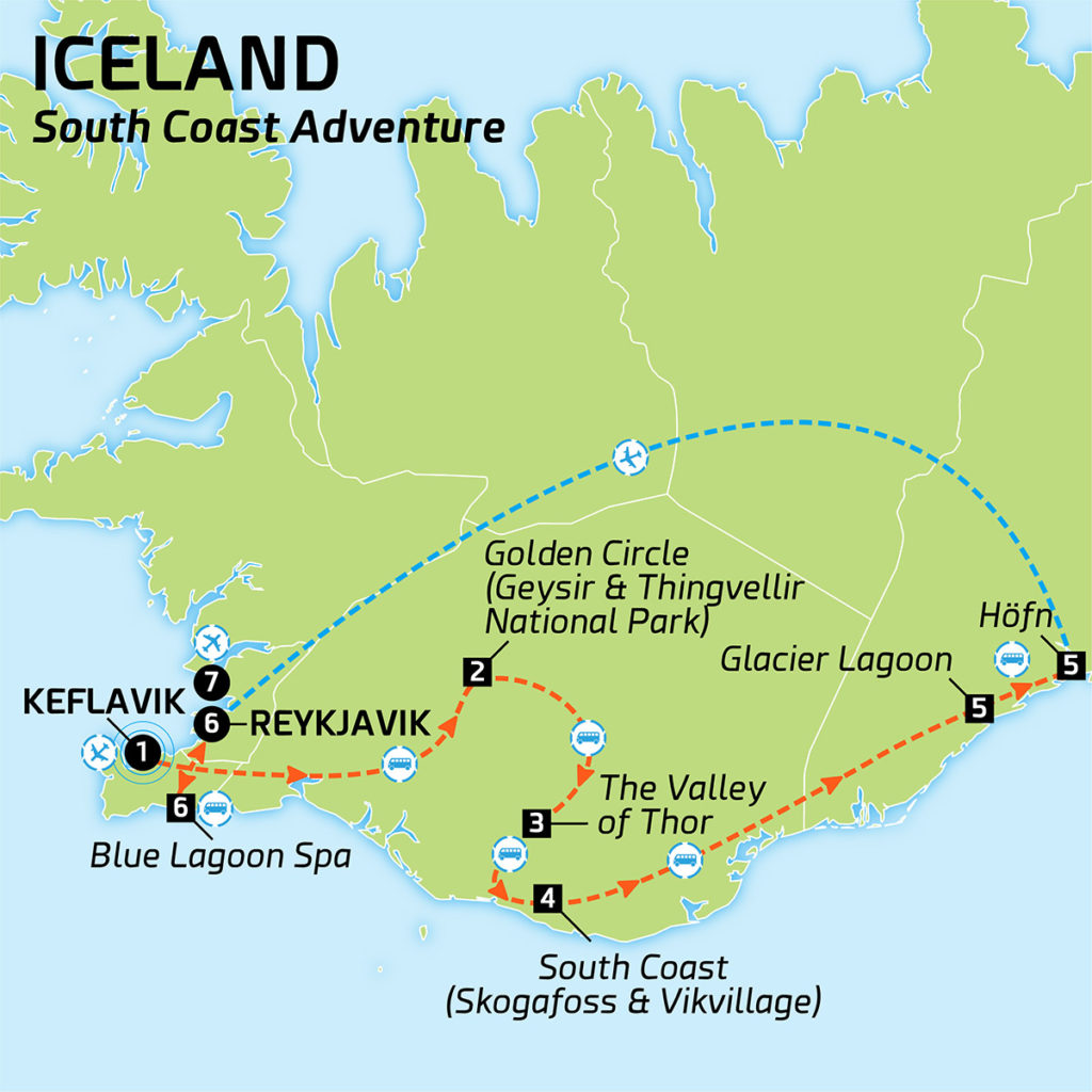 Map of ICELAND SOUTH COAST ADVENTURE