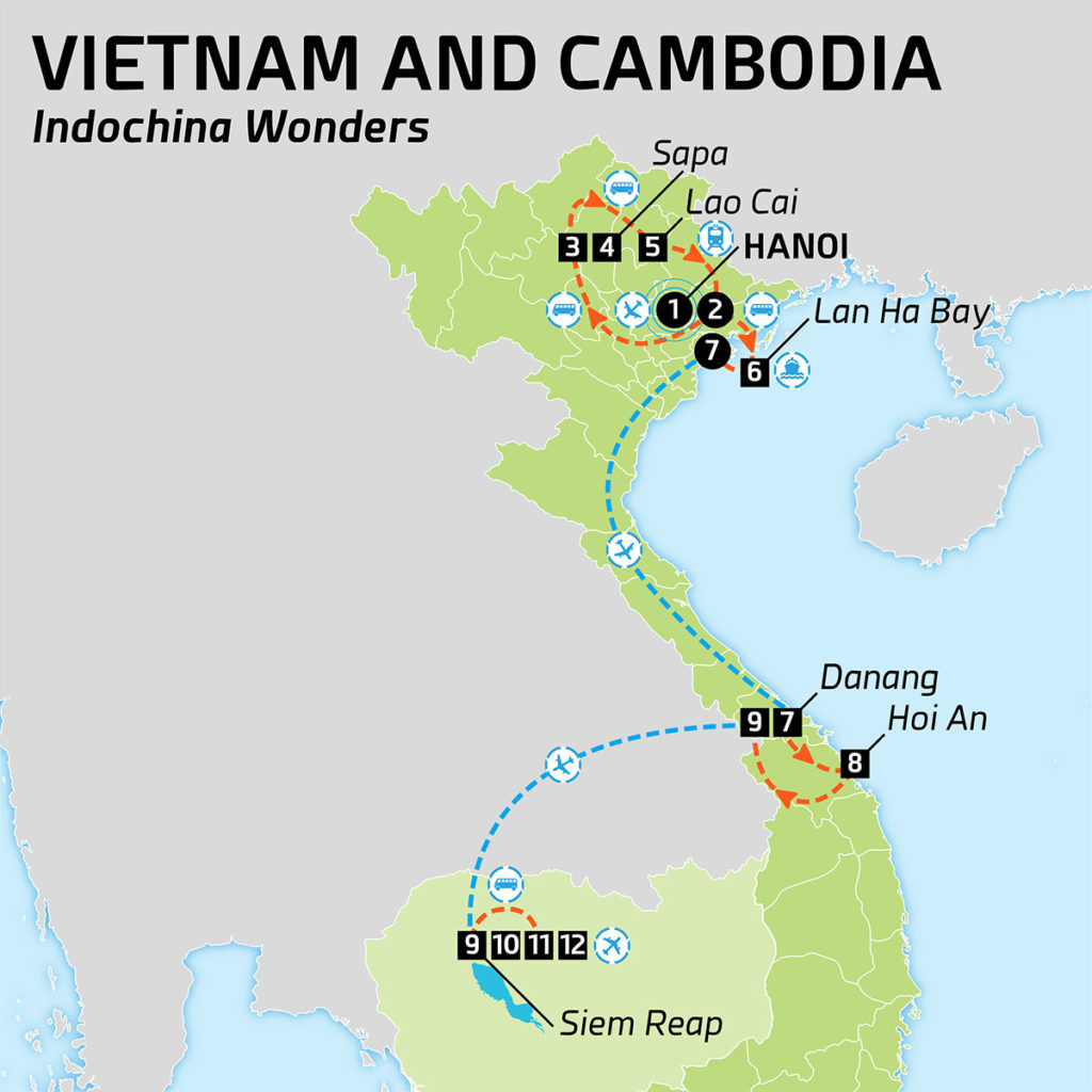 Map of Vietnam and Cambodia - Indochina Wonders