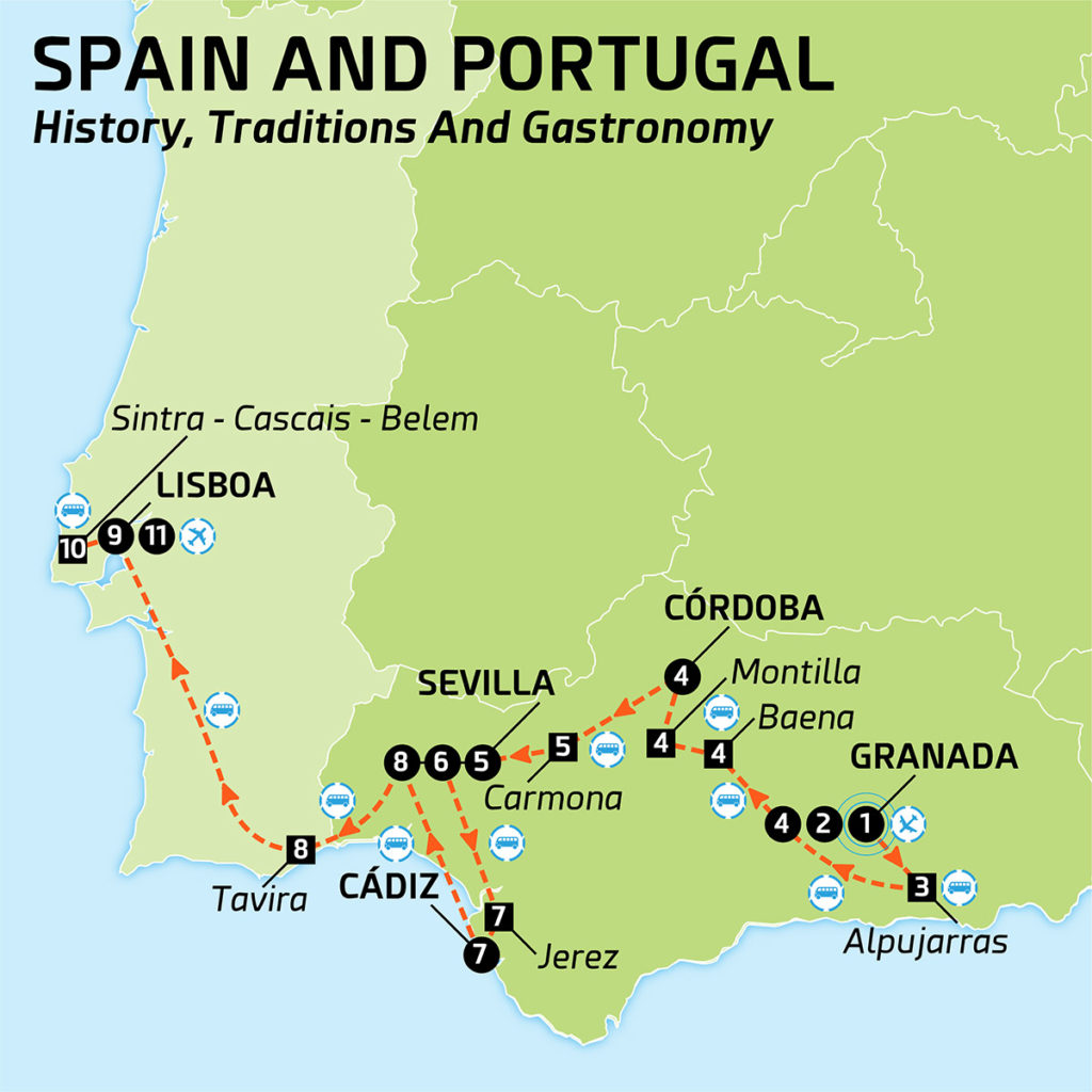 Map of SPAIN AND PORTUGAL HISTORY TRADITIONS AND GASTRONOMY
