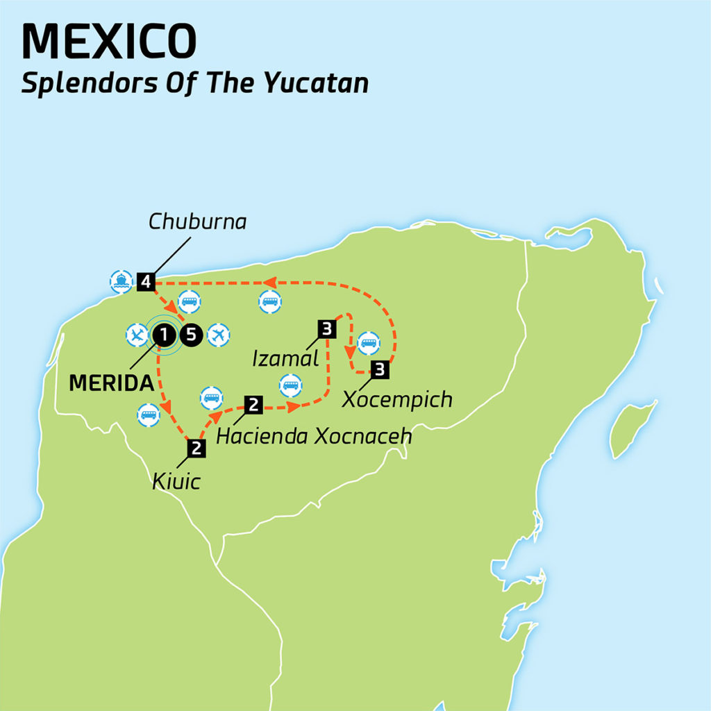 Map of Mexico - Splendors of the Yucatan