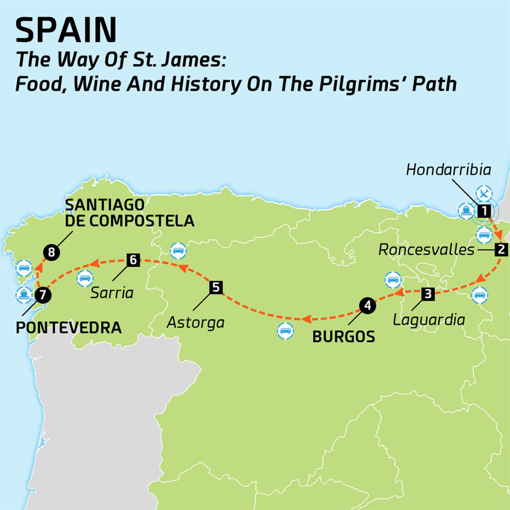Map of Spain - The Way of St. James: Food, wine and history on the Pilgrims´ Path