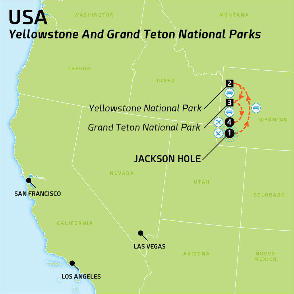 Map of USA - Yellowstone and Grand Teton National Parks