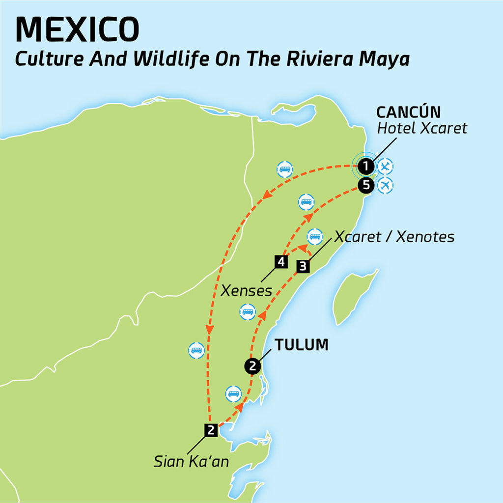 Mexico - Map of Culture and wild life in Riviera Maya