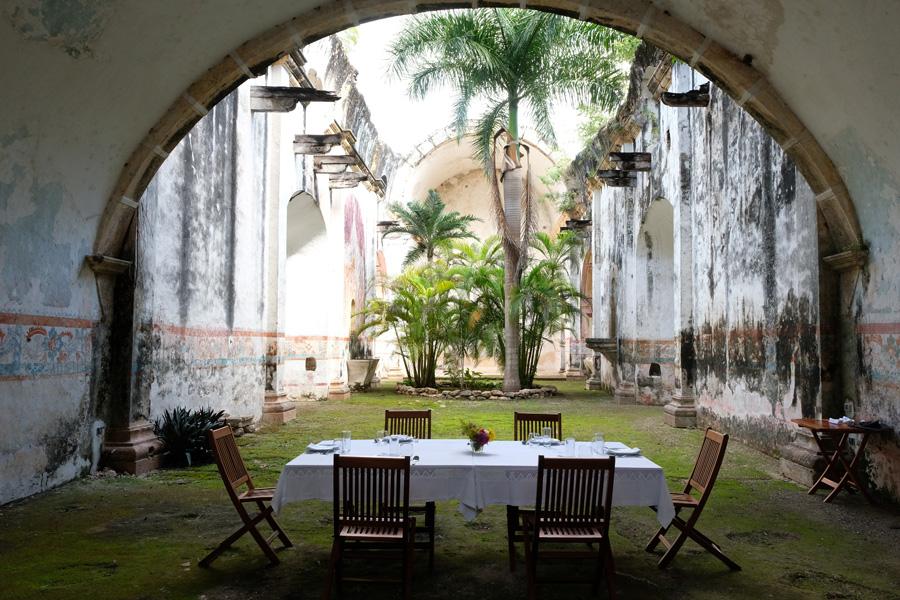 The Yucatan Peninsula land of the Maya table ready for lunch ancient place