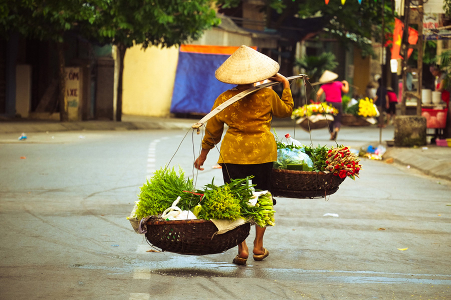 Wonders of Indochina - Woman transporting vegetables