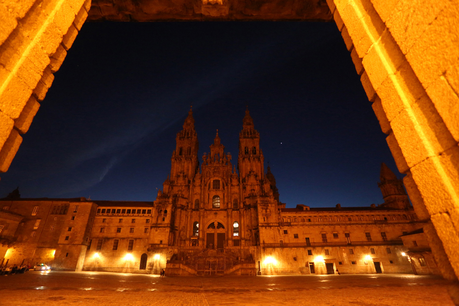 where we have gone Santiago Compostela´s cathedral at night in Spain